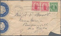 """Deutsch-Neuguinea - Besonderheiten: 1914 (12.8.), Blauer Dreizeiler """"Amtlich Geoeffnet Und Wieder Ge - Colonie: Nouvelle Guinée"""