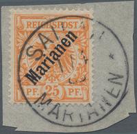 """Deutsche Kolonien - Marianen: 1899, 25 Pfennig Krone/Adler Mit Aufdruck """"Marianen""""auf Briefstück Mit - Colonie: Mariannes"""