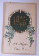 Neujahr, Jahreszahl, Männer, Frauen, Blumen,     1907  ♥  (58723) - Nouvel An