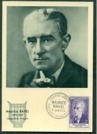 CM-Carte Maximum Card # 1956-FRANCE # Art # Célébrités # Musique# Maurice Ravel, Compositeur,Komponist,composer #Ciboure - Maximumkarten