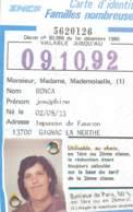 SNCF - Carte D'identité Familles Nombreuses 1986 Marseille Gignac La Nerthe - Europa