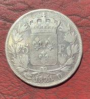 BELLE MONNAIE 5 FRANCS ARGENT LOUIS XVIII 1824 D LYON TTB - France