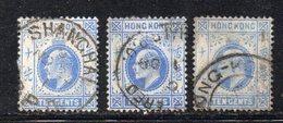 T2282 - HONG KONG , 10 Cents : Tre Valori Usati  (2380A) Fil Multi CA - Hong Kong (...-1997)