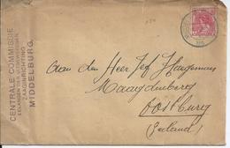 Brief Van Middelburg Naar Oostburg Met Nevenstempel CENTRALE COMMISSIE / BELANGEN DER UITGEWEKENEN / ZAAGINRICHTING - Weltkrieg 1914-18