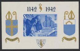 Bloc Orval (Mouchoir, 1942) - BL19A** Neuf Sans Charnières, MNH Surcharge Anglaise Bleue, Non Numeroté. - Blocks & Sheetlets 1924-1960