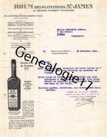 92 2251 NEUILLY SUR SEINE 1940 Rhums Rhumerie ERNEST LAMBERT Ets TERRITOIRE DE SAINT JAMES Rhum Signe A. GAZELLE - Francia