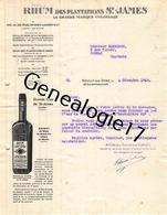 92 2252 NEUILLY SUR SEINE 1940 Rhums Rhumerie ERNEST LAMBERT Ets TERRITOIRE DE SAINT JAMES Rhum Plantations Ste Colonial - Francia