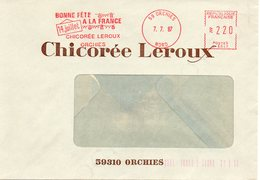 ORCHIES (NORD) : FETE NATIONALE DU 14 JUILLET 1987 EMA ROUGE Enveloppe CONCORDANTE Chicorée LEROUX - Fêtes