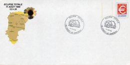 COUCY LE CHATEAU (AISNE) :ASTRONOMIE ECLIPSE TOTALE 1999 Oblitération Temporaire Sur PAP CONCORDANT - Astronomie