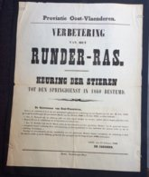 Provintie Oost-Vlaenderen / Verbetering Van Het RUNDER - RAS - Keuring Der Stieren / Gent 17 February 1860 - Faire-part