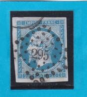 N° 14 A -  PC 295  BAYONNE    ( 64 )  BASSES-PYRENEES    - REF 1447 + Variété - 1853-1860 Napoléon III