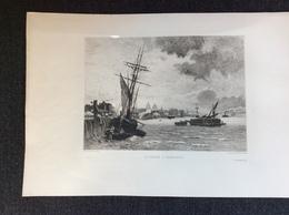 Oude Gravure / La Tamise A' Greenwich / Léon Gaucgerel, Sculp, Ch. Lapostolet, Pinx - Gravures