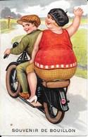 Carte à Système (accordéon) - Illustration: Couple En Motocyclette - Souvenir De Bouillon (Belgique) - A Systèmes