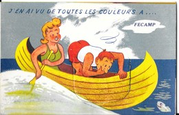 Carte à Système (accordéon) - Illustration: Couple En Canoë - J'en Ai Vu De Toutes Les Couleurs à Fécamp - Mechanical