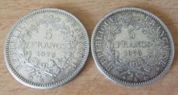 France - 2 Monnaies 5 Francs Hercule 1873 A Et 1875 A En Argent - TTB+ / SUP - Achat Immédiat - France