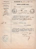 1847 - DINAN - PATENTE De FABRICANT à METIERS Pour Le Sr DUCHEMIN Telcide - Fait à SAINT-BRIEUC - Documents Historiques