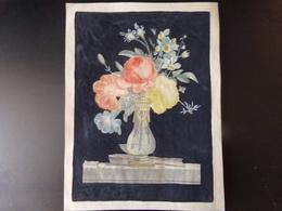 """Peinture ( 34 X 25 Cm ) """" Fleurs Dans Un Vase """" - Otras Colecciones"""