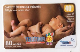 ANTILLES FRANCAISE OUTREMER TELECOM TELETHON 2000 40FF - Antilles (French)