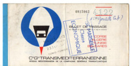 B16 1971 Billet De Bord Paquebot Avenir  Marseille Tunis - Posta Marittima