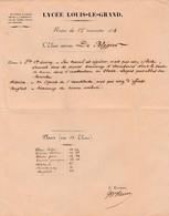 1852 Paris LYCEE LOUIS-LE-GRAND - Notes Du 1er Trimestre 1852 Pour L'èlève Externe De BLEGIER (52 Elèves) - Historische Documenten
