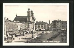 AK Linz A. D. D., Strassenbahn Auf Dem  Platz, Mariensäule Im Sonnenschein - Tram