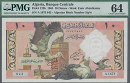 Algeria / Algerien: Banque Centrale D'Algérie 10 Dinars 1964 With Algerian Block # Style, P.123b, Ex - Algerije