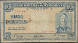 Bahamas: The Bahamas Government 5 Pounds L.1936, P.12, Toned Paper With Tiny Margin Splits, Conditio - Bahamas