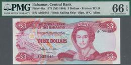 Bahamas: The Central Bank Of The Bahamas 3 Dollars L. 1974 (1984), P.44, PMG Graded 66 Gem Uncircula - Bahamas