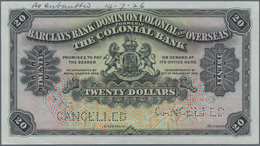 Barbados: Barclays Bank (Dominion, Colonial And Overseas) Formerly The Colonial Bank 20 Dollars 1920 - Barbados (Barbuda)
