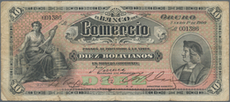 Bolivia / Bolivien: El Banco Del Comercio 10 Bolivianos 1900, P.S133, Still Nice With Strong Paper, - Bolivia