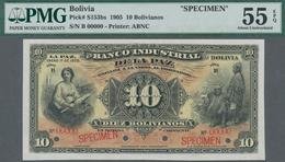 Bolivia / Bolivien: El Banco Industrial De La Paz 10 Bolivianos 1905 Specimen Note, P. S153bs. Zero - Bolivien