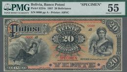 Bolivia / Bolivien: El Banco Potosi 20 Bolivianos 1887 Specimen Note, P. S224s. Zero Serial Numbers, - Bolivia