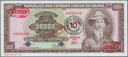 Brazil / Brasilien:  Banco Central Do Brasil 10 Cruzeiros Novos On 10.000 Cruzeiros ND(1967) Specime - Brazil