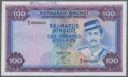 """Brunei: Government Of Brunei 100 Ringgit 1976 SPECIMEN, P.10as With Perforation """"Specimen"""" And Seria - Brunei"""