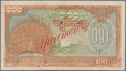 """Burma / Myanmar / Birma: Burma State Bank 100 Kyats ND(1944) SPECIMEN, P.21s With Red Overprint """"Spe - Myanmar"""