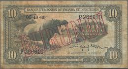 Burundi: Banque D'Émission Du Rwanda Et Du Burundi (Banque Du Royaume Du Burundi) 10 Francs 1960, P. - Burundi