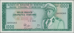 Burundi: Banque Du Royaume Du Burundi 1000 Francs 1965, P.14, Highly Rare Banknote In Excellent Cond - Burundi