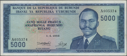 Burundi: Banque Du Royaume Du Burundi 5000 Francs 1968, P.26a, Still Great Original Shape With A Few - Burundi