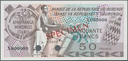 Burundi:  Banque De La République Du Burundi 50 Francs 1977 SPECIMEN, P.28s With Punch Hole Cancella - Burundi