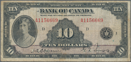 Canada: The Bank Of Canada 10 Dollars 1935, P.44, Rare Issue With Folds, Minor Spots And Creases. Co - Canada