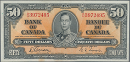 Canada: 50 Dollars 1937, P.63b, Very Nice With Strong Paper And Bright Colors, Some Folds And A Few - Canada