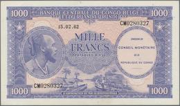 Congo / Kongo: Republic Of Congo 1000 Francs 1962 With Overprint Conseil Monétaire De La République - Congo