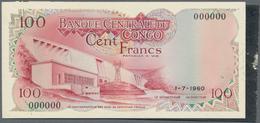 Congo / Kongo: Banque Central Du Congo - Zaire Front And Back Composite Essay For 100 Francs 1960 Wi - Non Classés