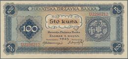 Croatia / Kroatien: Pair With 20 Kuna 1944 Single Letter Prefix P.9a (F-) And 100 Kuna 1943 P.11 (aU - Croacia