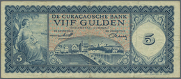 Curacao: De Curacaosche Bank Lot With 3 Banknotes 5 Gulden 1954 (F-), 1958 (F- With Tear) And 1960 ( - Banknoten