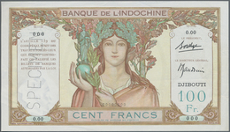 Djibouti / Dschibuti: Banque De L'Indochine – DJIBOUTI 100 Francs ND(1930's) SPECIMEN, P.8s, Small B - Djibouti