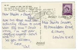 Ref 1357 - 1968 Postcard - Sunset At Peel Isle Of Man - Port St Mary Slogan Postmark - Isola Di Man (dell'uomo)