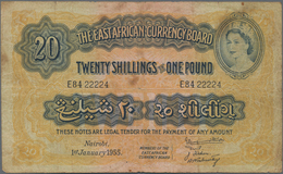 East Africa / Ost-Afrika: The East African Currency Board 20 Shillings 1955, P.35, Rare Banknote Wit - Banknotes