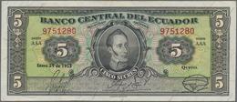 Ecuador: El Banco Central Del Ecuador 5 Sucres 1938 P.84d (VF), 5 Sucres 1945 P.91b (VF+) And Banco - Ecuador