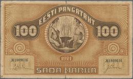 Estonia / Estland: Eesti Pangatäht 100 Marka 1921, Watermark Vertical Lines, P.56b, Still Nice With - Estland
